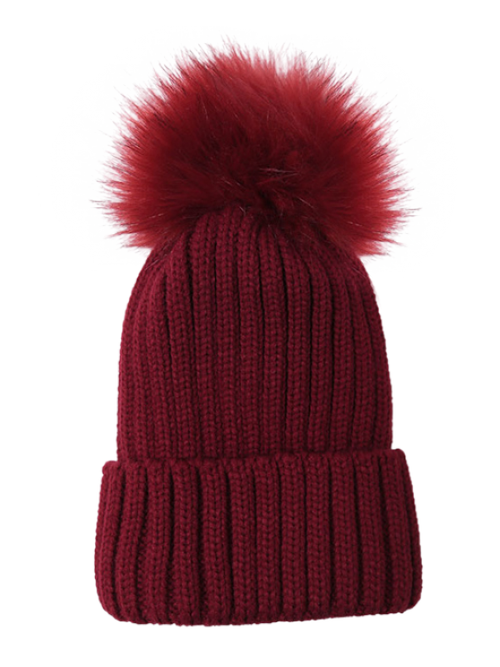 Flanging Pom Ball Knitted Beanie - WINE RED  Mobile