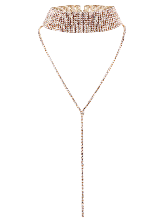 buy Rhinestoned Wide Choker - CHAMPAGNE
