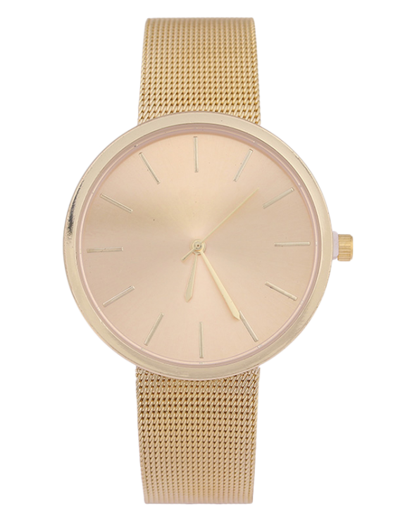 Montre Quartz bande en grillage acier simple - Or