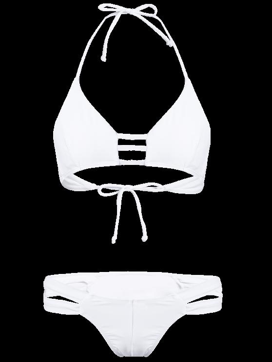 String Halter Unlined Bikini Set - WHITE L Mobile