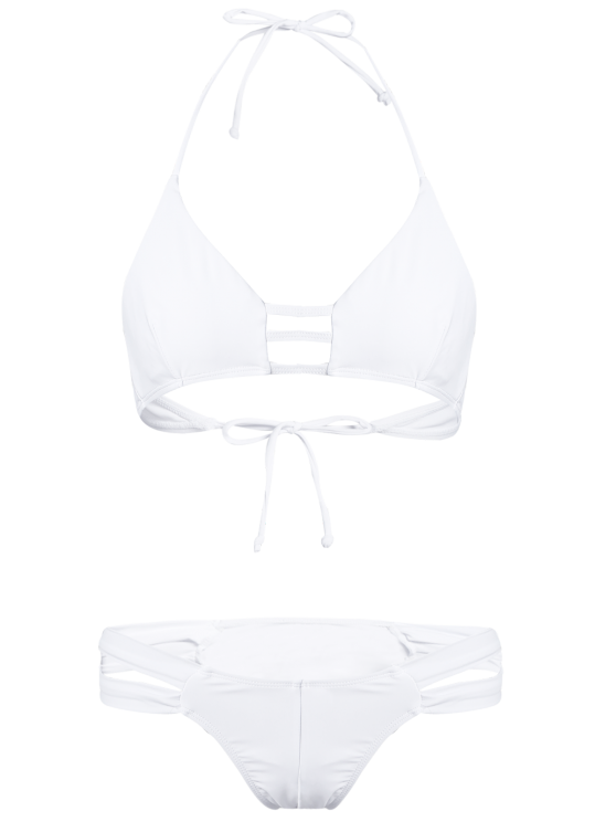 String Halter Unlined Bikini Swimwear - WHITE M Mobile