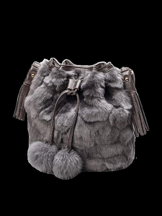 buy Pompon Tassel Furry Bucket Bag - GRAY