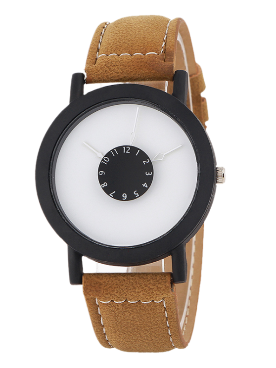 fashion Faux Leather Band Analog Quartz Watch - BROWN