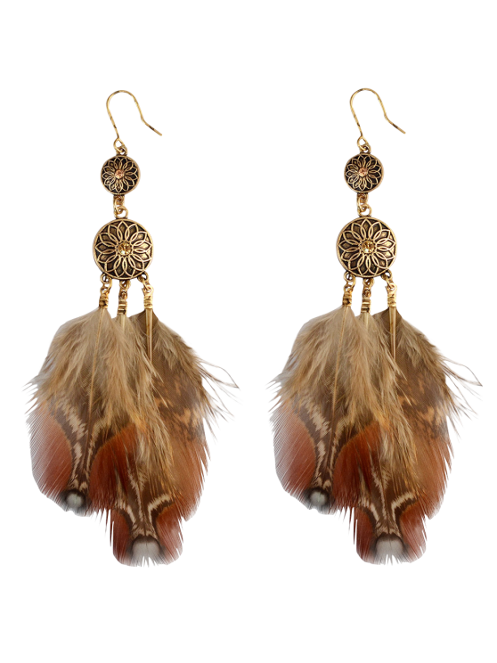 Rhinestone Floral Feather Bohemian Drop Earrings -   Mobile