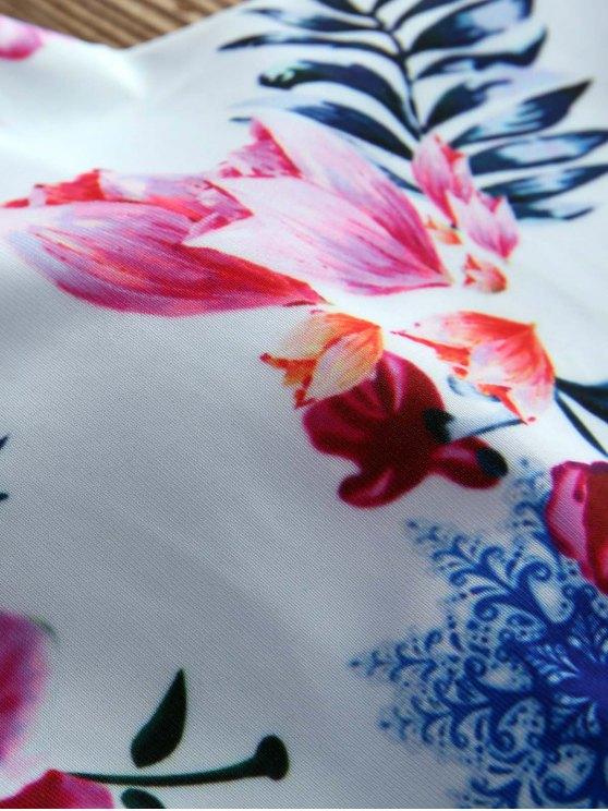 Floral Halter String Bikini Cute Bathing Suit - WHITE M Mobile