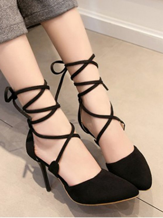 Solid Color Flock Lace-Up Pumps - BLACK 34 Mobile