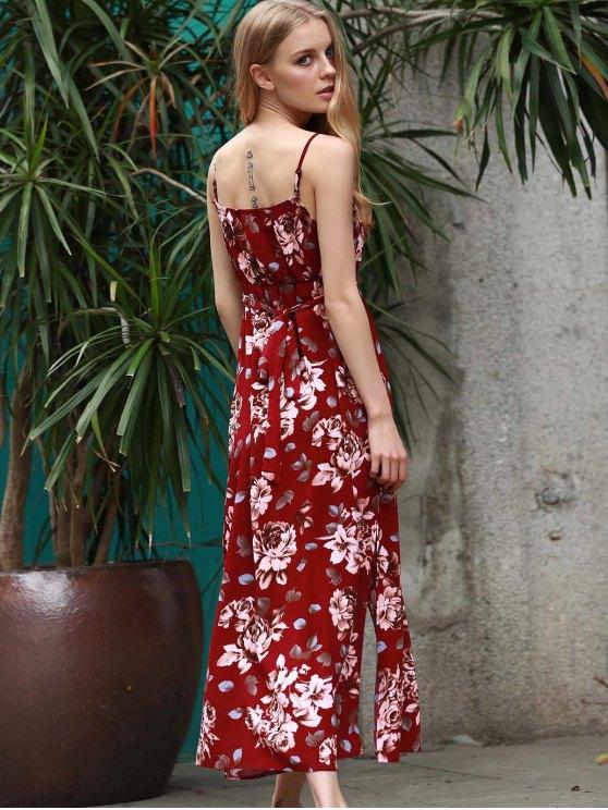 Floral Spaghetti Straps Slit Maxi Dress - WINE RED XL Mobile
