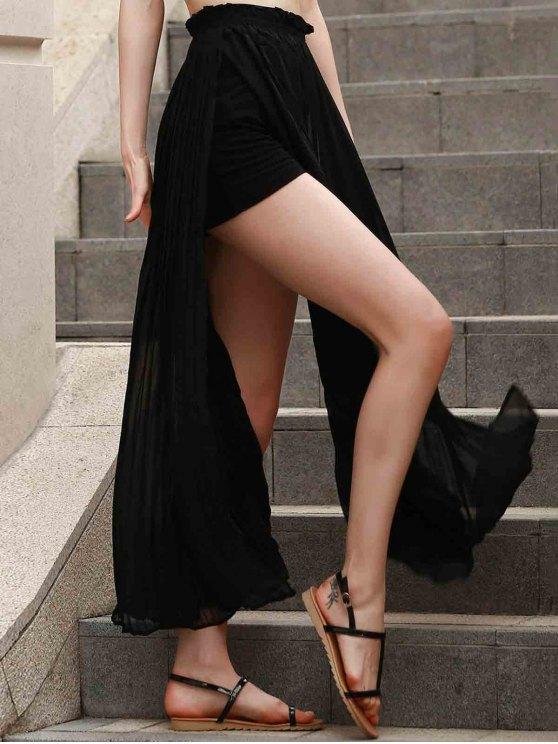Pleated Chiffon Long Skirt - BLACK XS Mobile