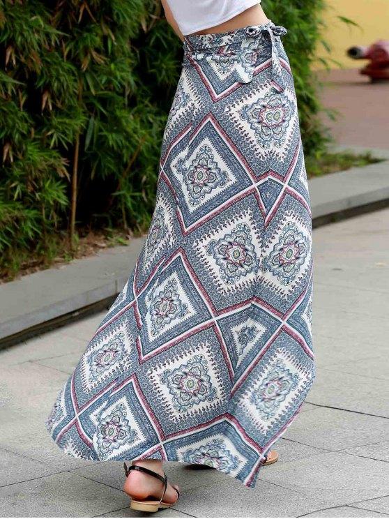Argyle Print High Waist High Low Skirt - COLORMIX XL Mobile