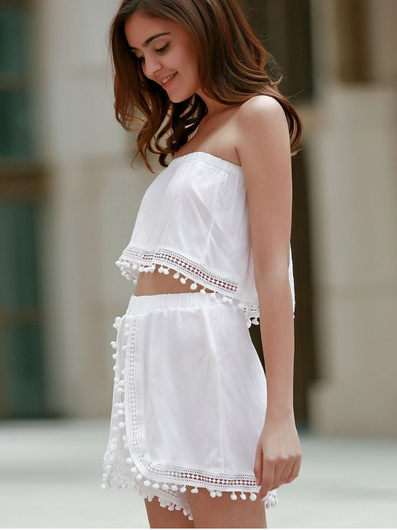 Off The Shoulder White Tank Top and Lace Spliced  High Waist Shorts - WHITE L Mobile