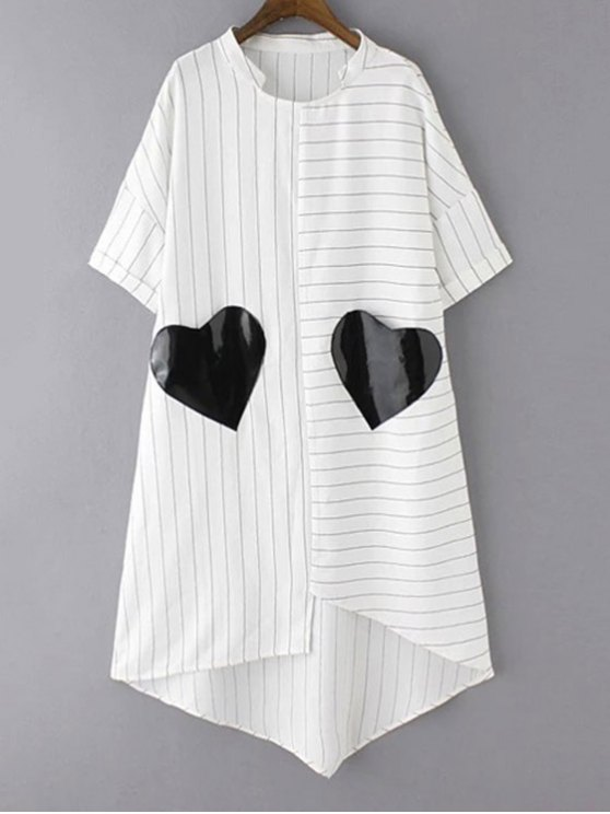 outfit Striped Pockets Patch Irregular Hem Dress - WHITE M