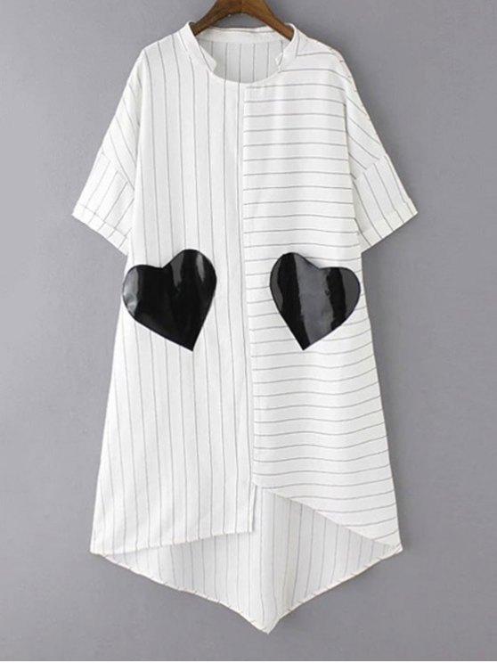 Rayas de manga corta bolsillos irregular del remiendo vestido Hem - Blanco S