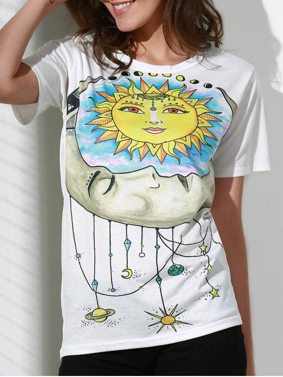best Sun Print Round Neck Short Sleeve T-Shirt - WHITE M