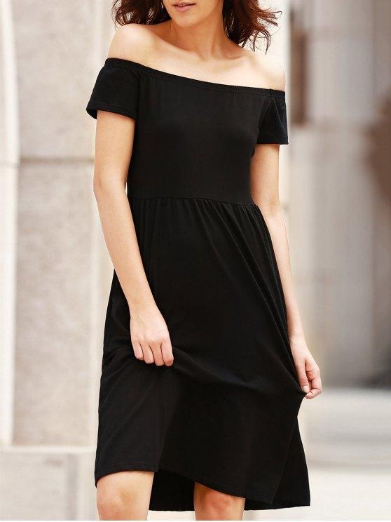Color sólido del hombro vestir de manga corta - Negro L