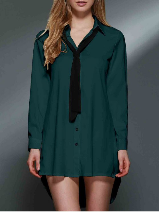 affordable Bowknot Embellished Tunic Shirt Dress - GREEN S