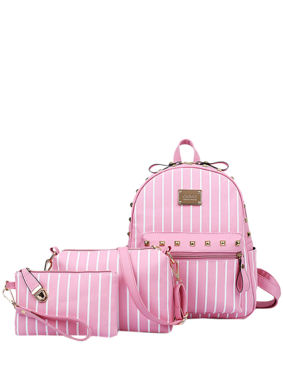 fancy Striped Rivet PU Leather Backpack - PINK