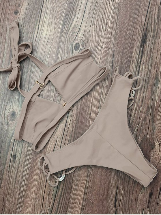 Strappy Cut Out Halter Bikini - APRICOT S Mobile