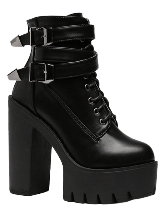 lady Double Buckle Platform Zipper Short Boots - BLACK 37