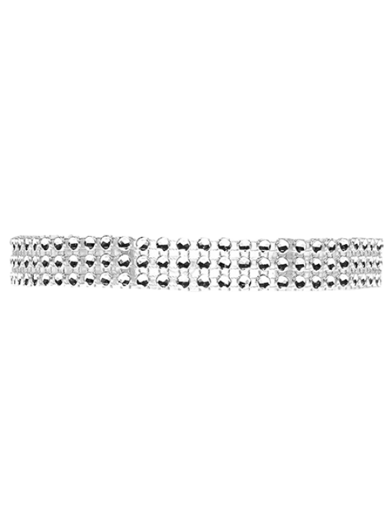 Triple Layered Plastic Choker - SILVER  Mobile