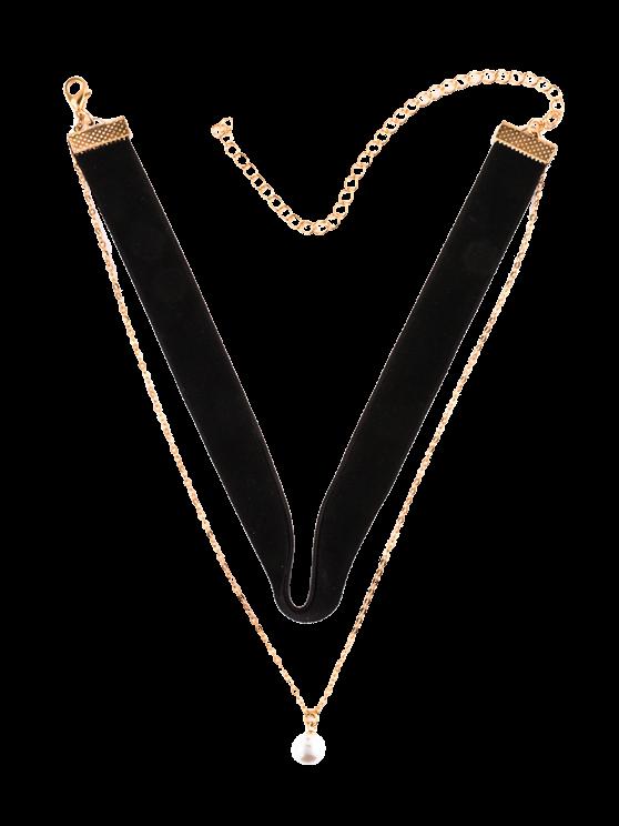 women Faux Pearl Layered Velvet Choker - BLACK