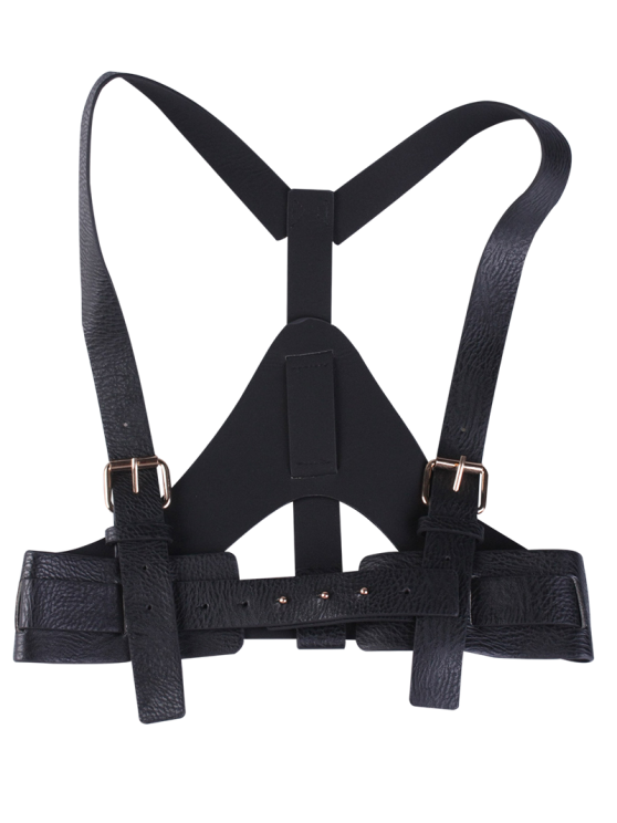 womens Faux Leather Belt Suspenders - BLACK
