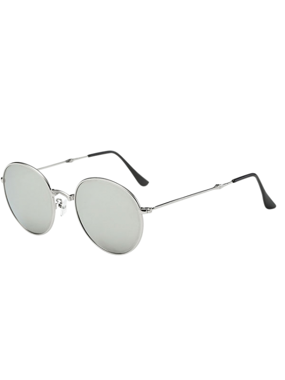 best Cambered Nose Bridge Oval Mirror Sunglasses - SILVER
