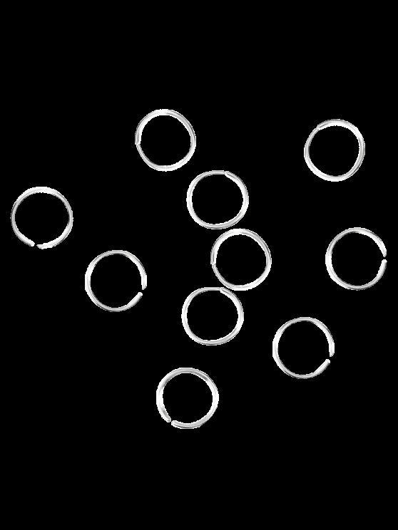 10 PCS Circle Adorn Hair Accessories - SILVER  Mobile