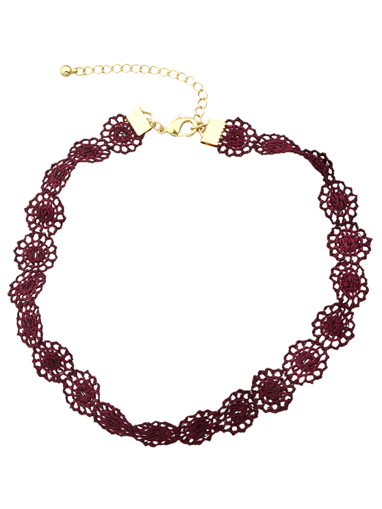 Lace Hollow Out Floral Necklace - WINE RED  Mobile