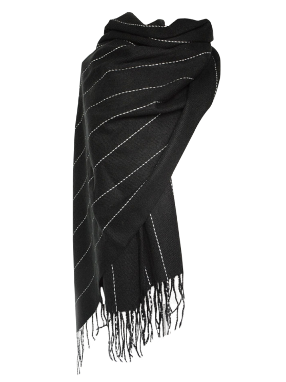 sale Fringe Stripe Scarf - BLACK