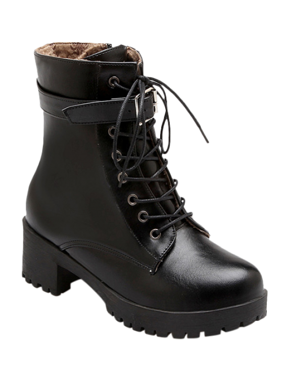 hot Buckle Lace-Up Round Toe Short Boots - BLACK 38