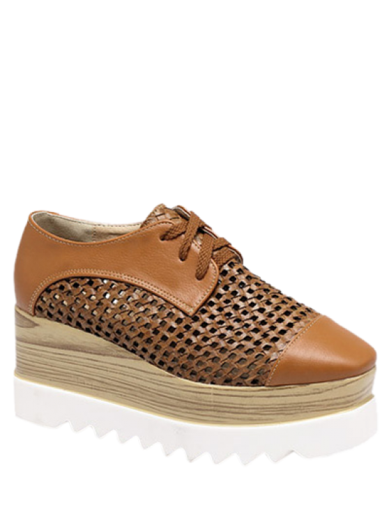 Évider Lace-Up Platform Shoes - Brun Clair 39