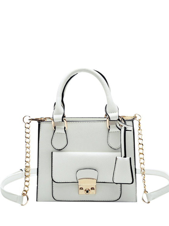 women's PU Leather Metal Tote Bag - WHITE