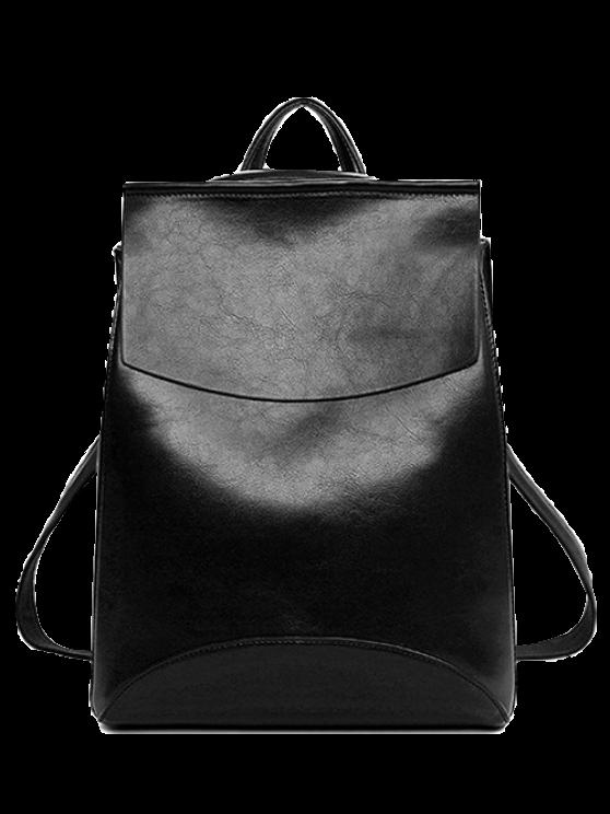 unique PU Leather Cover Solid Color Satchel - BLACK
