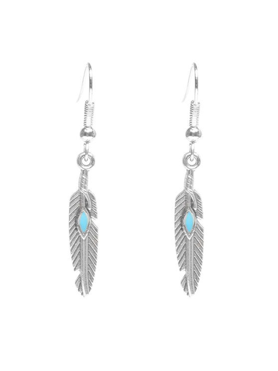 new Feather Beaded Resin Earrings - SILVER