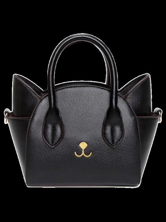 trendy Cat Shape Solid Color Tote Bag - BLACK