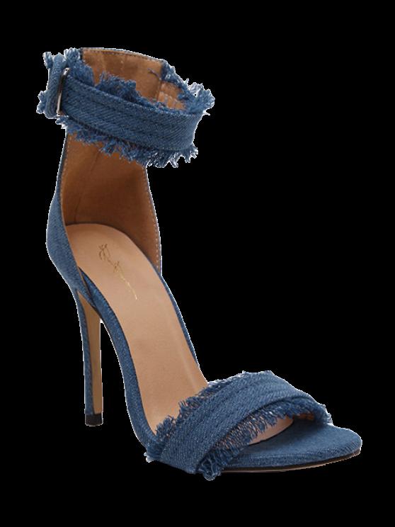 Sandalias de tacón denim correa del tobillo del estilete - Azul claro 37