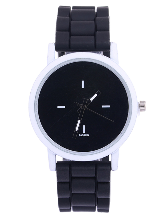 Sport Round Silicone Watch - BLACK  Mobile