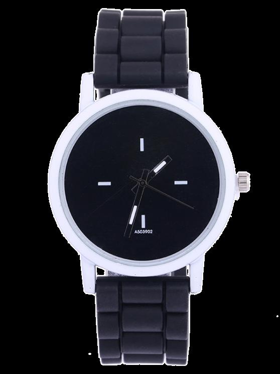 fashion Sport Round Silicone Watch - BLACK