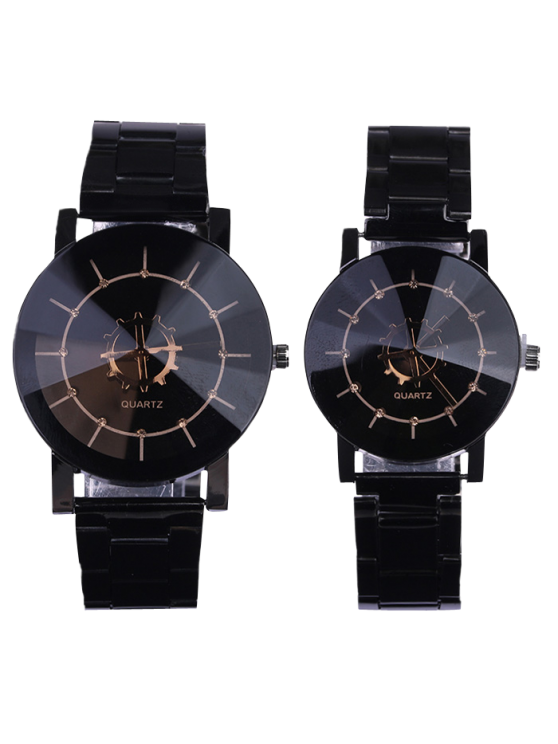 trendy Personality Stainless Steel Strap Couple Quartz Watch - BLACK