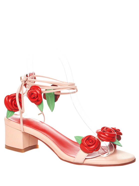 buy Rose Lace-Up Chunky Heel Sandals - PINK 38