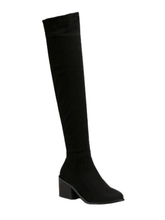 new Flock Chunky Heel Thigh Boots - BLACK 39