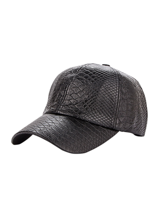 best Casual Crocodile PU Leather Baseball Hat - BLACK