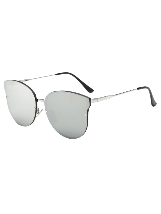 Full Rims Butterfly Mirrored Sunglasses - SILVER  Mobile