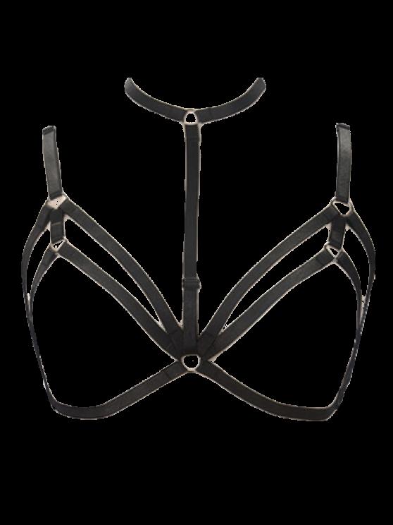 Bra Bondage Harness Layered Body Jewelry - BLACK  Mobile