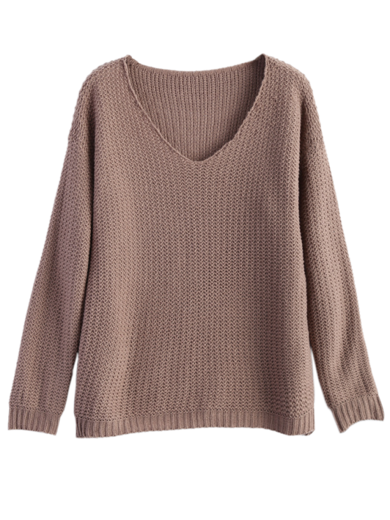 V Neck Relaxed Sweater - LIGHT COFFEE ONE SIZE Mobile