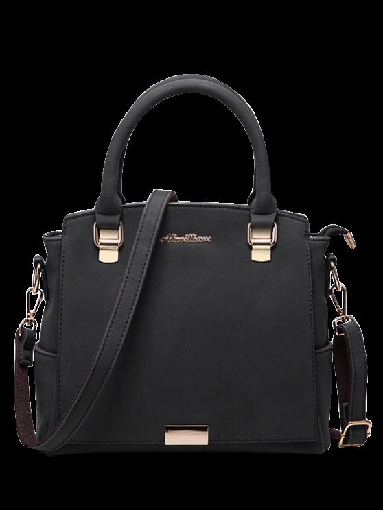 Double Pocket Zipper Faux Leather Tote Bag - BLACK  Mobile