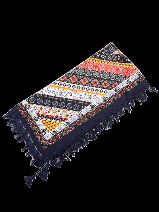 Floral Print Tassel Scarf - CADETBLUE  Mobile