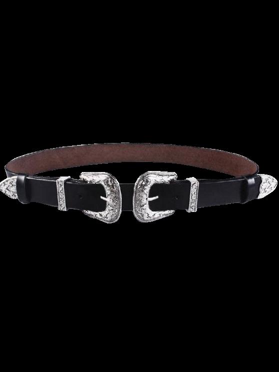 Cameo Double Buckle Elastic Waist Belt - BLACK  Mobile