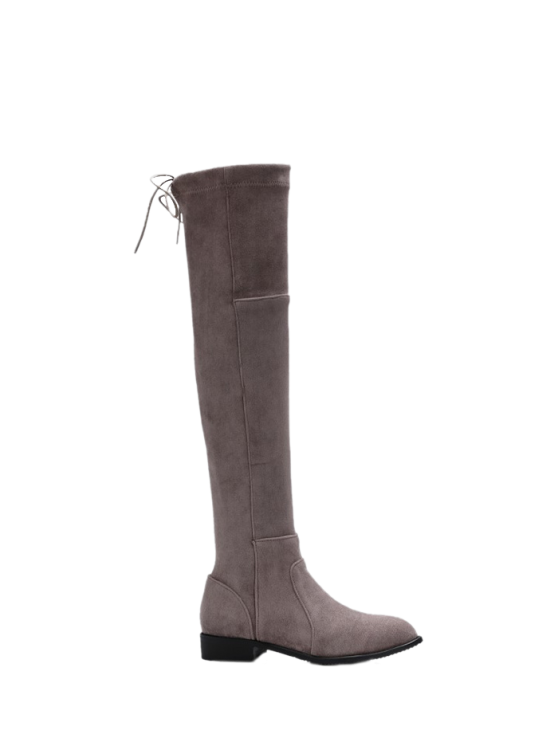 Flock Flat Heel Thigh Boots - GRAY 37 Mobile