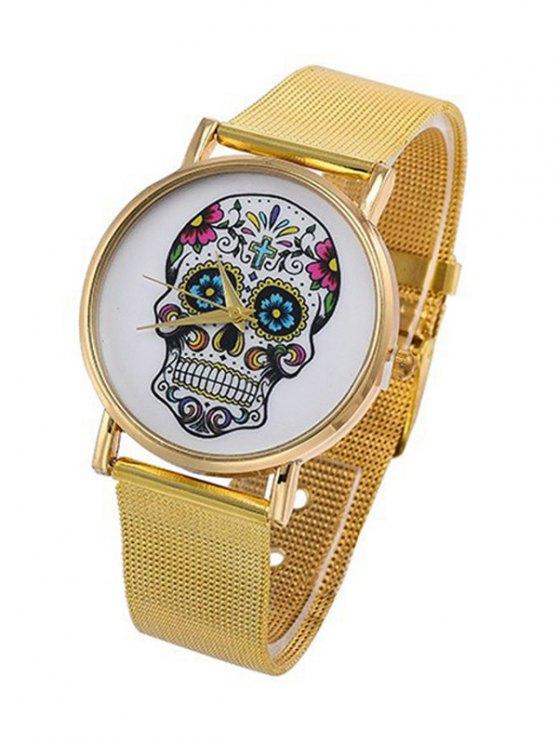 ladies Skull Flower Crucifix Pattern Quartz Watch - GOLDEN